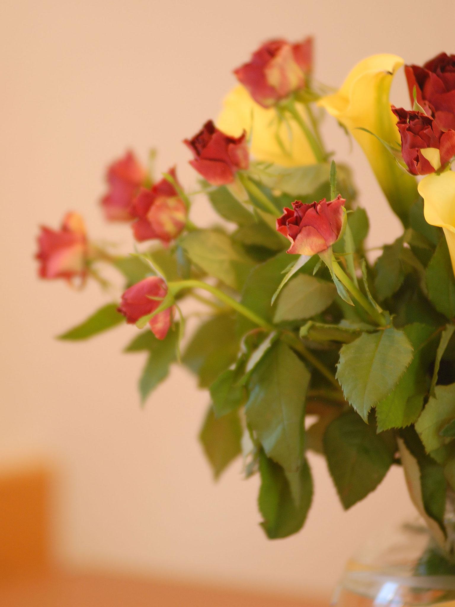 Detail eines Rosenstraußes